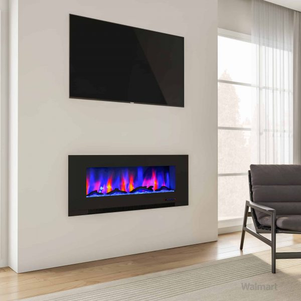 "Cambridge 50"" Wall-Mount Electric Fireplace Heater with Multi-Color LED Flames and Driftwood Log Display 13"