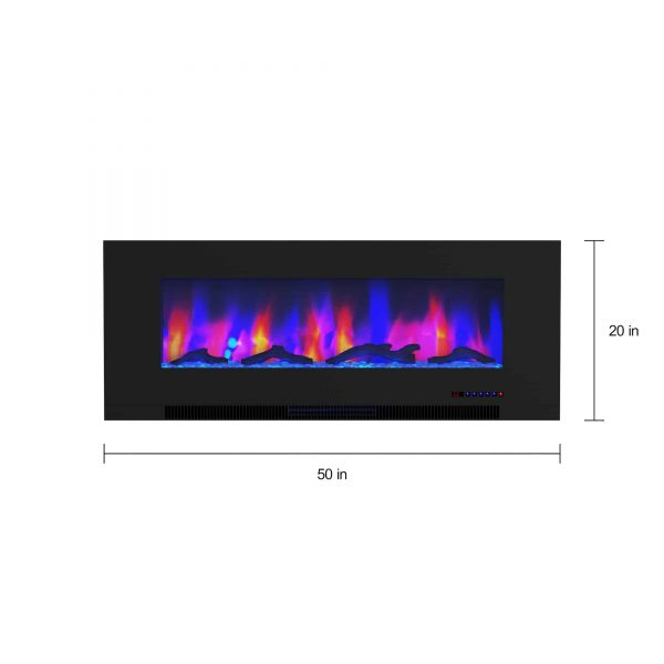 "Cambridge 50"" Wall-Mount Electric Fireplace Heater with Multi-Color LED Flames and Driftwood Log Display 14"
