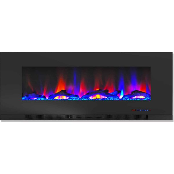 "Cambridge 50"" Wall-Mount Electric Fireplace Heater with Multi-Color LED Flames and Driftwood Log Display 2"