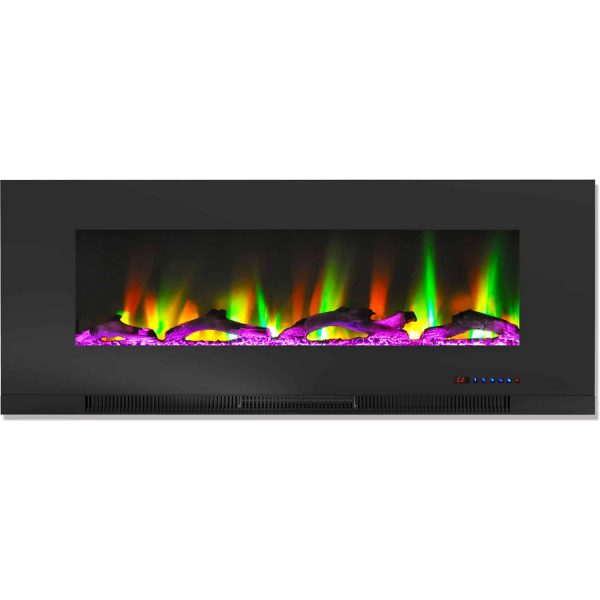 "Cambridge 50"" Wall-Mount Electric Fireplace Heater with Multi-Color LED Flames and Driftwood Log Display 4"