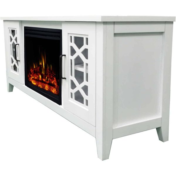 Cambridge 56-in. Stardust Mid-Century Modern Electric Fireplace with Deep Multi-Color Log Insert, White 1