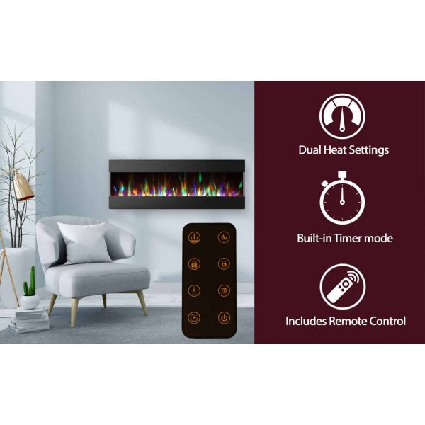 Cambridge 60 In. Recessed Wall Mounted Electric Fireplace with Crystal and LED Color Changing Display, Black 1