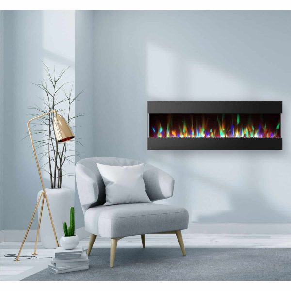 Cambridge 60 In. Recessed Wall Mounted Electric Fireplace with Crystal and LED Color Changing Display, Black 2