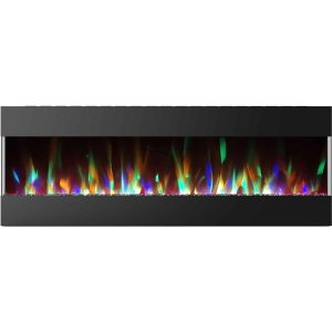 Cambridge 60 In. Recessed Wall Mounted Electric Fireplace with Crystal and LED Color Changing Display