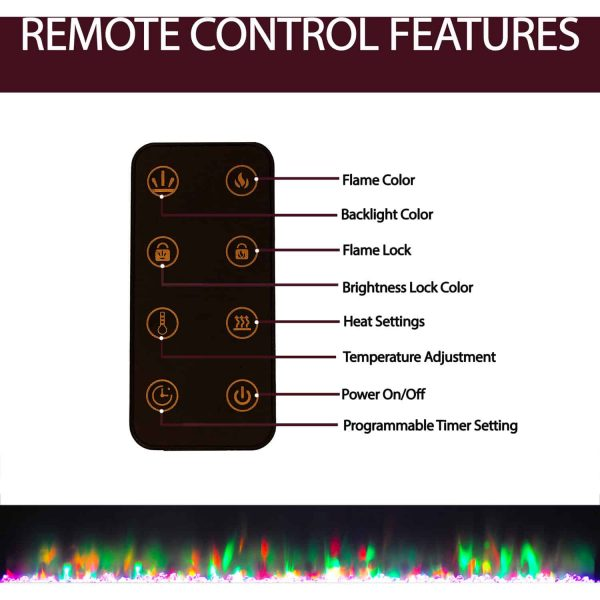 Cambridge 60 In. Recessed Wall Mounted Electric Fireplace with Crystal and LED Color Changing Display, Black 4