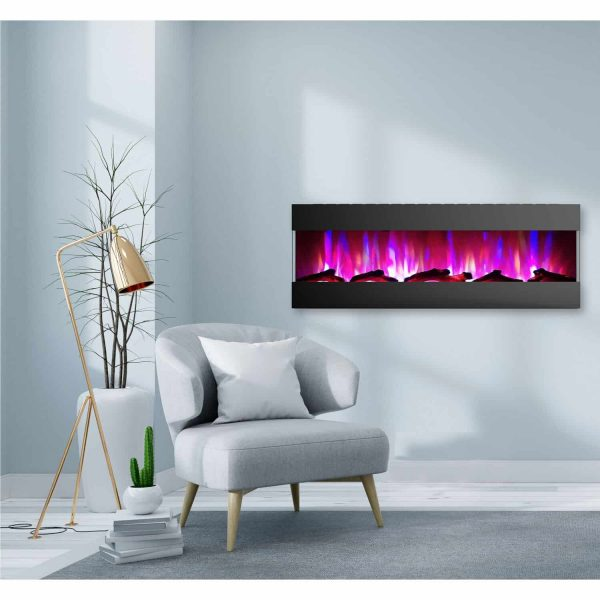 Cambridge 60 In. Recessed Wall Mounted Electric Fireplace with Logs and LED Color Changing Display, Black 1