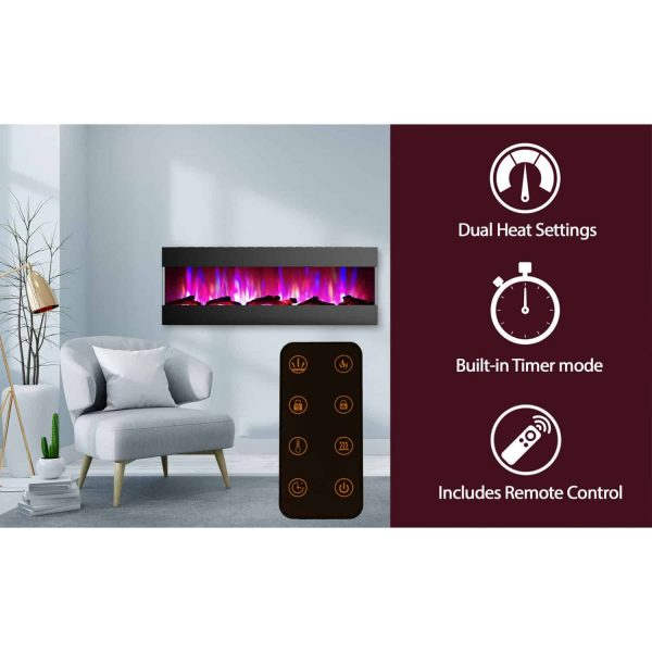 Cambridge 60 In. Recessed Wall Mounted Electric Fireplace with Logs and LED Color Changing Display, Black 2