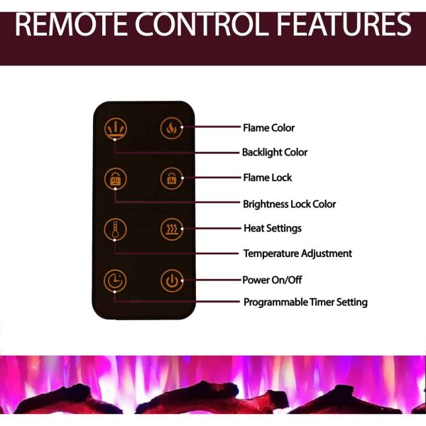 Cambridge 60 In. Recessed Wall Mounted Electric Fireplace with Logs and LED Color Changing Display, Black 4