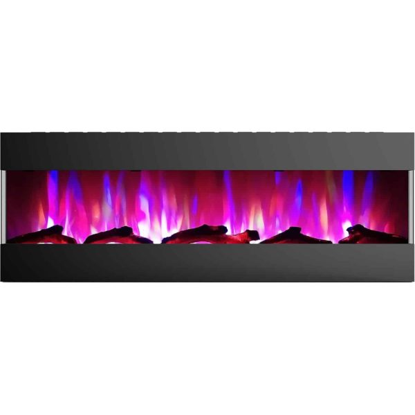 Cambridge 60 In. Recessed Wall Mounted Electric Fireplace with Logs and LED Color Changing Display