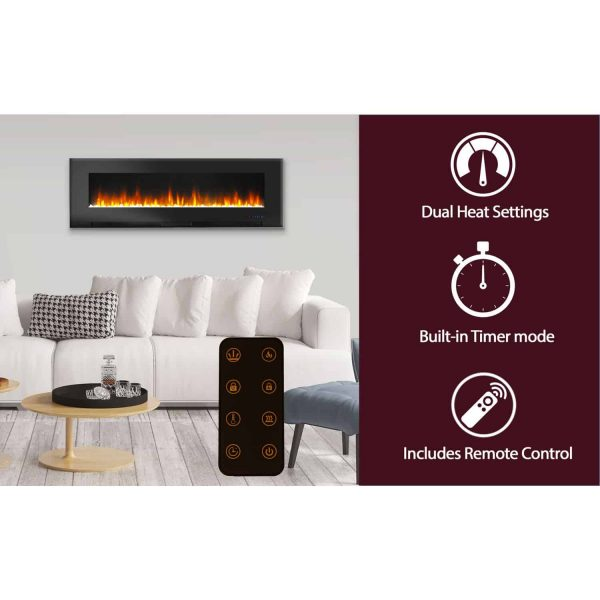 "Cambridge 60"" Wall-Mount Electric Fireplace Heater with Multi-Color LED Flames and Crystal Rock Display 10"