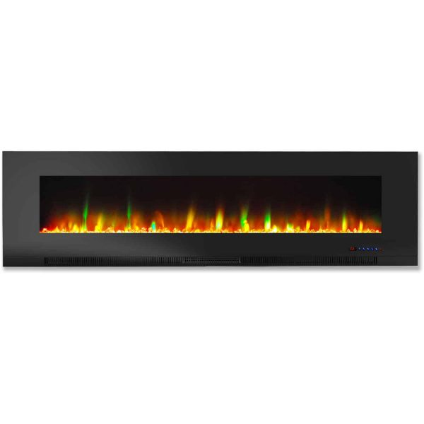 "Cambridge 60"" Wall-Mount Electric Fireplace Heater with Multi-Color LED Flames and Crystal Rock Display 2"
