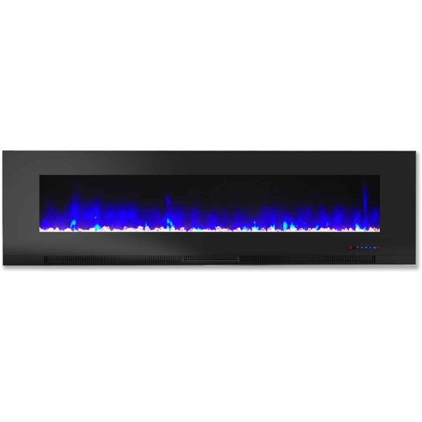 "Cambridge 60"" Wall-Mount Electric Fireplace Heater with Multi-Color LED Flames and Crystal Rock Display 3"