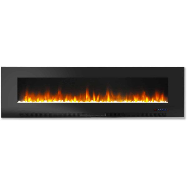 "Cambridge 60"" Wall-Mount Electric Fireplace Heater with Multi-Color LED Flames and Crystal Rock Display 4"