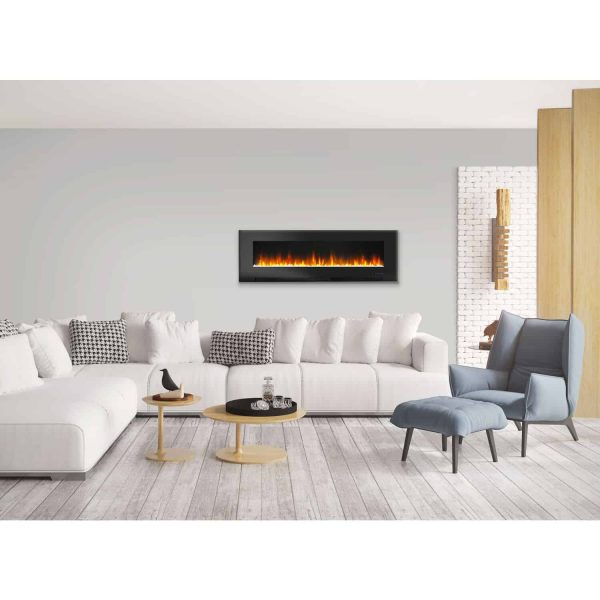 "Cambridge 60"" Wall-Mount Electric Fireplace Heater with Multi-Color LED Flames and Crystal Rock Display 6"