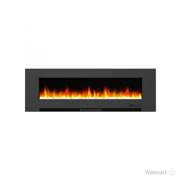 "Cambridge 60"" Wall-Mount Electric Fireplace Heater with Multi-Color LED Flames and Crystal Rock Display 7"