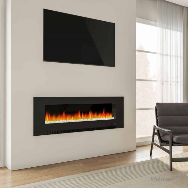 "Cambridge 60"" Wall-Mount Electric Fireplace Heater with Multi-Color LED Flames and Crystal Rock Display 8"