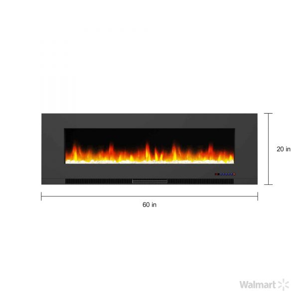 "Cambridge 60"" Wall-Mount Electric Fireplace Heater with Multi-Color LED Flames and Crystal Rock Display 9"
