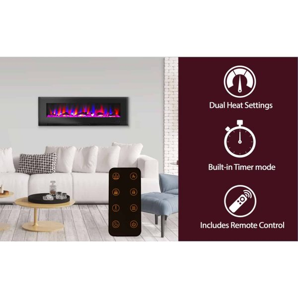 """Cambridge 60"""" Wall-Mount Electric Fireplace Heater with Multi-Color LED Flames and Driftwood Log Display 10"""