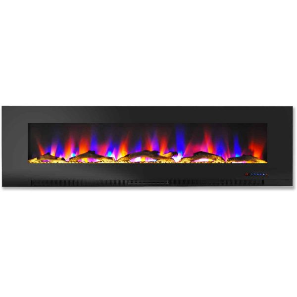 """Cambridge 60"""" Wall-Mount Electric Fireplace Heater with Multi-Color LED Flames and Driftwood Log Display 2"""