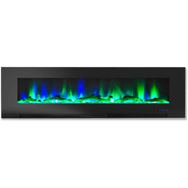 """Cambridge 60"""" Wall-Mount Electric Fireplace Heater with Multi-Color LED Flames and Driftwood Log Display 3"""
