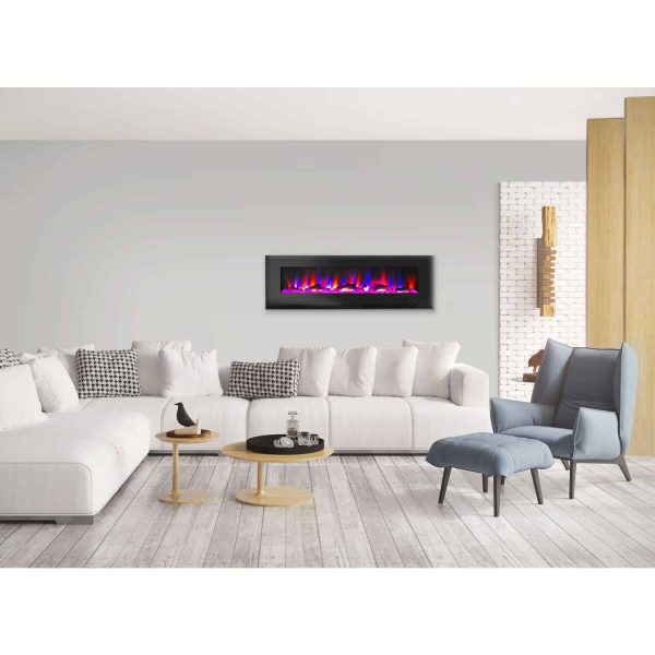 """Cambridge 60"""" Wall-Mount Electric Fireplace Heater with Multi-Color LED Flames and Driftwood Log Display 6"""