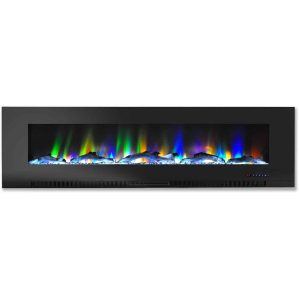 """Cambridge 60"""" Wall-Mount Electric Fireplace Heater with Multi-Color LED Flames and Driftwood Log Display"""