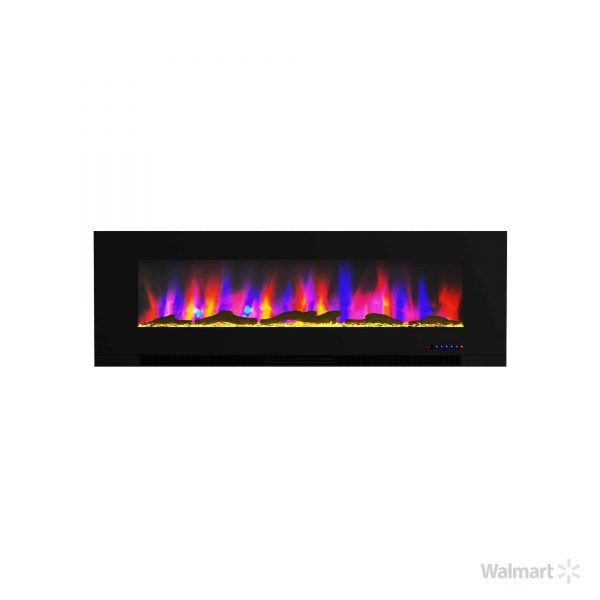 """Cambridge 60"""" Wall-Mount Electric Fireplace Heater with Multi-Color LED Flames and Driftwood Log Display 7"""