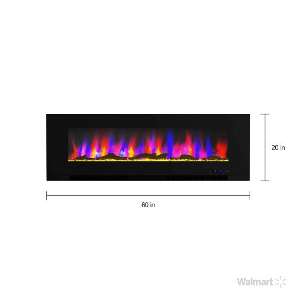 """Cambridge 60"""" Wall-Mount Electric Fireplace Heater with Multi-Color LED Flames and Driftwood Log Display 8"""