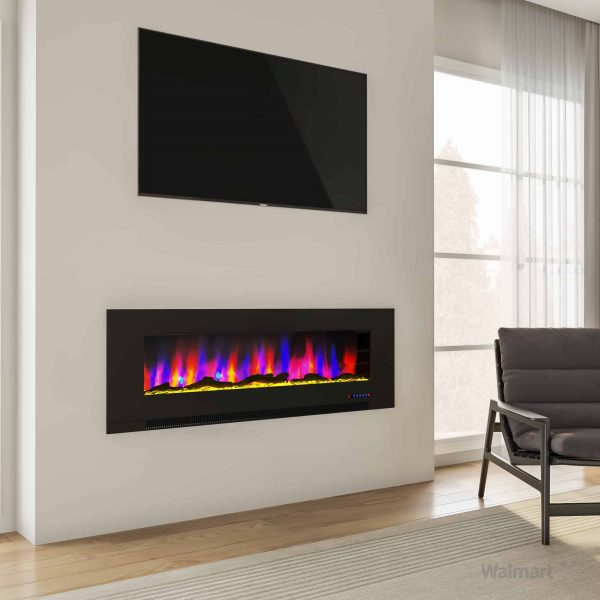 """Cambridge 60"""" Wall-Mount Electric Fireplace Heater with Multi-Color LED Flames and Driftwood Log Display 9"""
