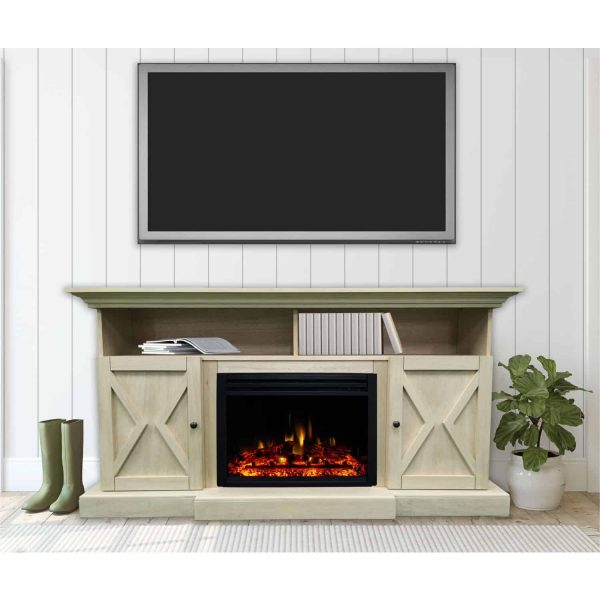 Cambridge 62-in. Summit Farmhouse Style Electric Fireplace Mantel with Deep Log Insert, Sandstone 1