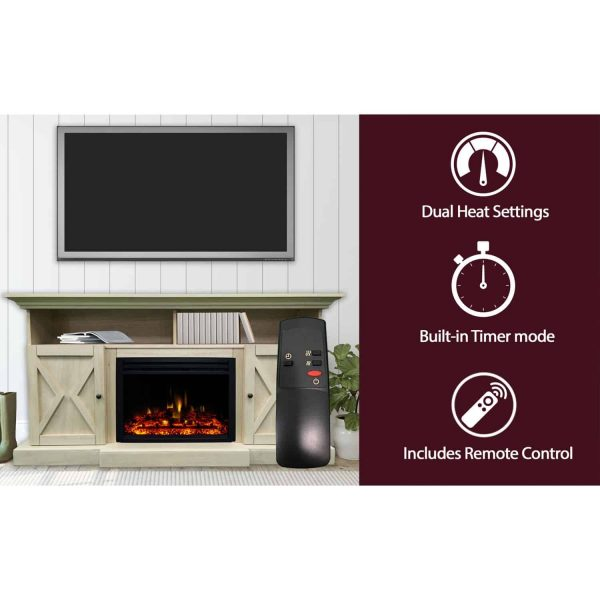 Cambridge 62-in. Summit Farmhouse Style Electric Fireplace Mantel with Deep Log Insert, Sandstone 2
