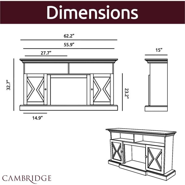 Cambridge 62-in. Summit Farmhouse Style Electric Fireplace Mantel with Deep Log Insert, Sandstone 3