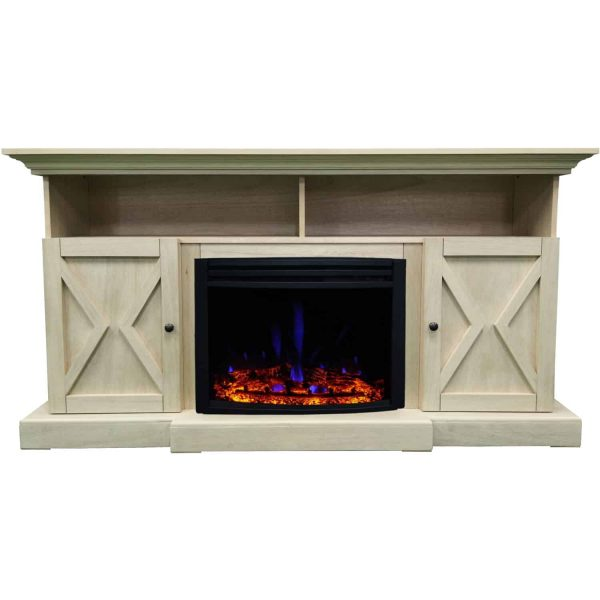 Cambridge 62-in. Summit Farmhouse Style Electric Fireplace Mantel with Deep Log Insert