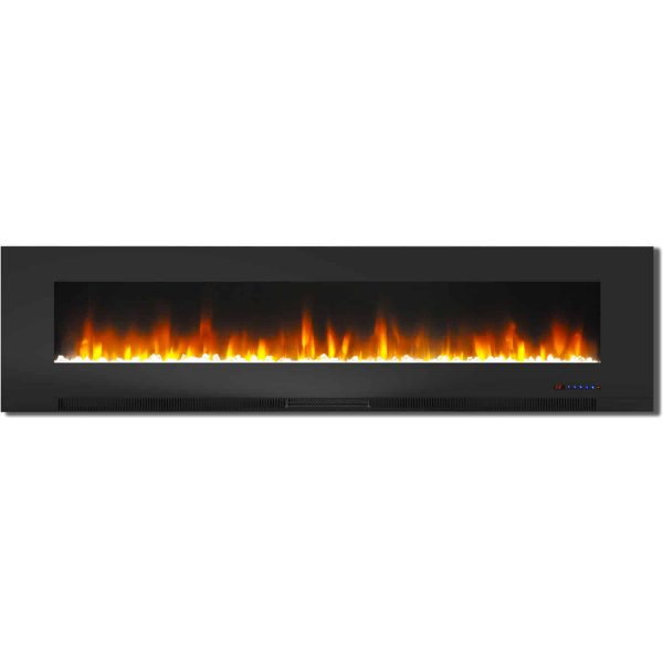 "Cambridge 78"" Wall-Mount Electric Fireplace Heater with Multi-Color LED Flames and Crystal Rock Display 3"
