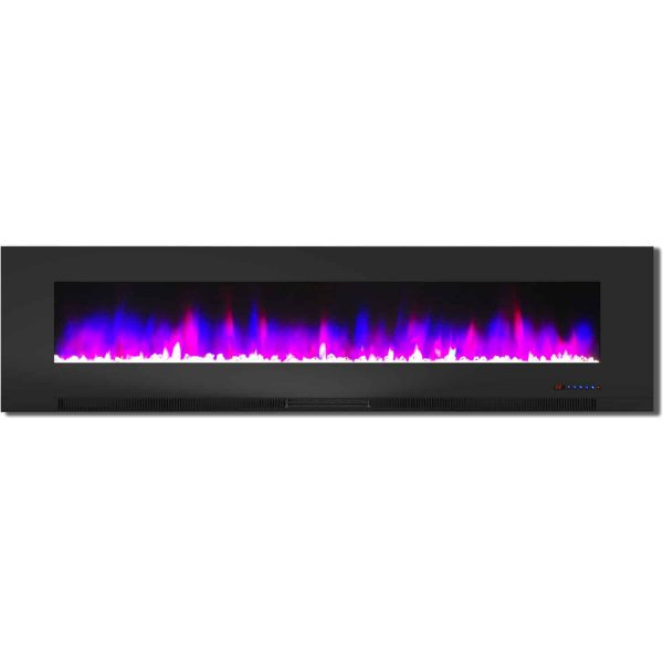 "Cambridge 78"" Wall-Mount Electric Fireplace Heater with Multi-Color LED Flames and Crystal Rock Display 4"