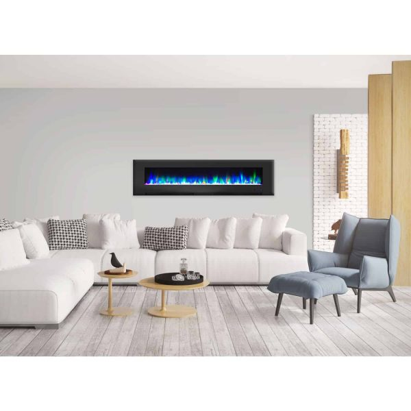 "Cambridge 78"" Wall-Mount Electric Fireplace Heater with Multi-Color LED Flames and Crystal Rock Display 6"