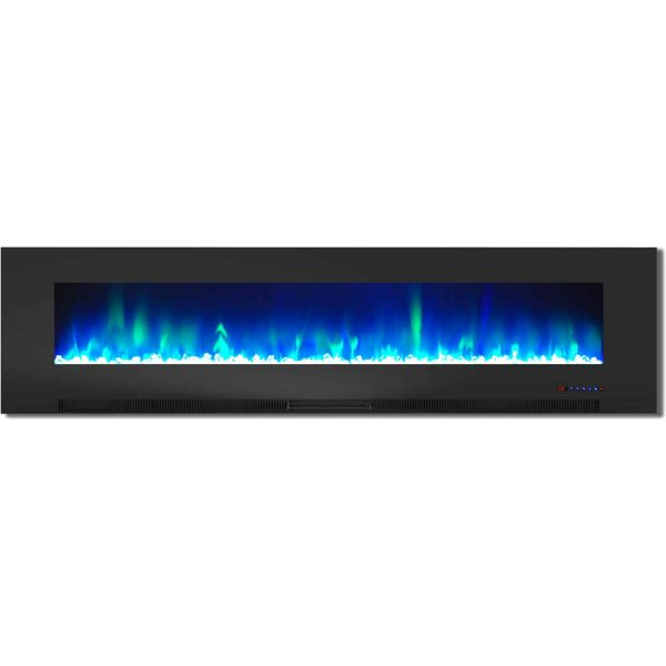 "Cambridge 78"" Wall-Mount Electric Fireplace Heater with Multi-Color LED Flames and Crystal Rock Display"