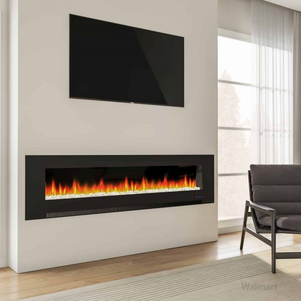 "Cambridge 78"" Wall-Mount Electric Fireplace Heater with Multi-Color LED Flames and Crystal Rock Display 7"