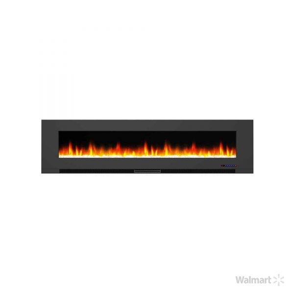"Cambridge 78"" Wall-Mount Electric Fireplace Heater with Multi-Color LED Flames and Crystal Rock Display 8"