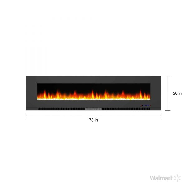 "Cambridge 78"" Wall-Mount Electric Fireplace Heater with Multi-Color LED Flames and Crystal Rock Display 9"