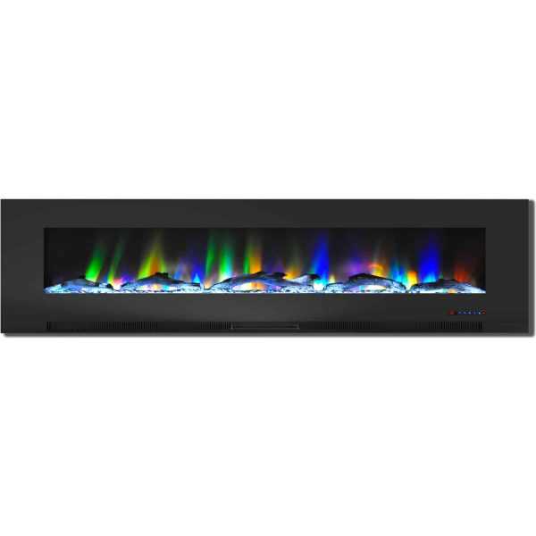 "Cambridge 78"" Wall-Mount Electric Fireplace Heater with Multi-Color LED Flames and Driftwood Log Display 2"