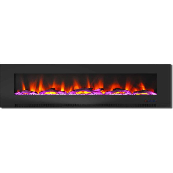 "Cambridge 78"" Wall-Mount Electric Fireplace Heater with Multi-Color LED Flames and Driftwood Log Display 3"