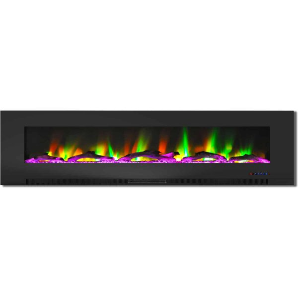 "Cambridge 78"" Wall-Mount Electric Fireplace Heater with Multi-Color LED Flames and Driftwood Log Display 4"