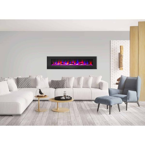 "Cambridge 78"" Wall-Mount Electric Fireplace Heater with Multi-Color LED Flames and Driftwood Log Display 6"