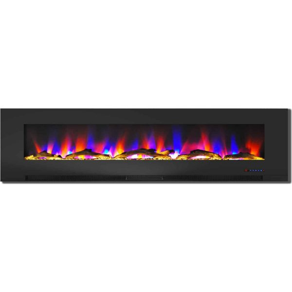 "Cambridge 78"" Wall-Mount Electric Fireplace Heater with Multi-Color LED Flames and Driftwood Log Display"