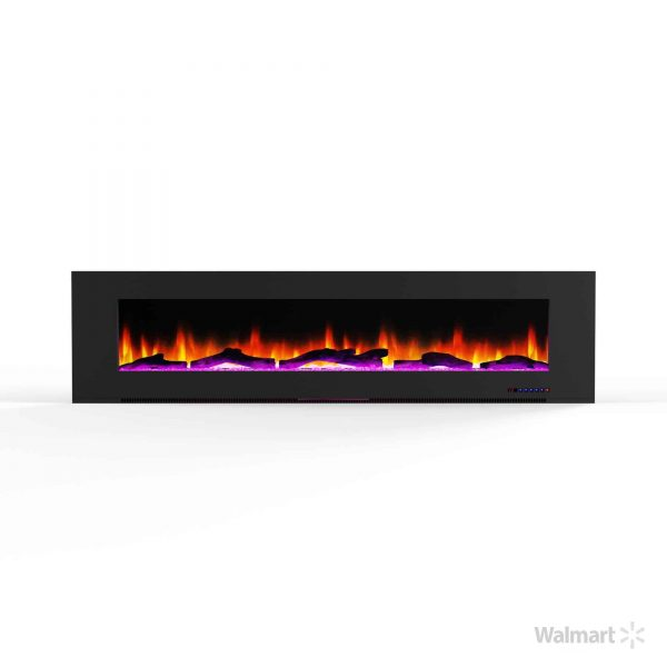 "Cambridge 78"" Wall-Mount Electric Fireplace Heater with Multi-Color LED Flames and Driftwood Log Display 7"