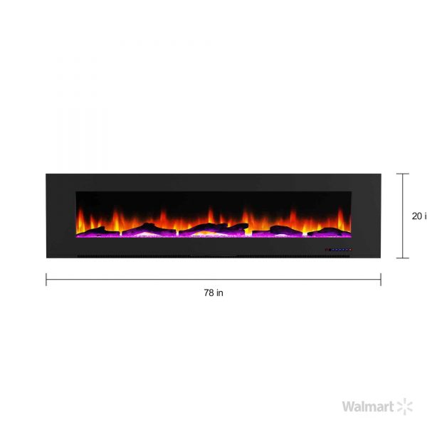 "Cambridge 78"" Wall-Mount Electric Fireplace Heater with Multi-Color LED Flames and Driftwood Log Display 8"