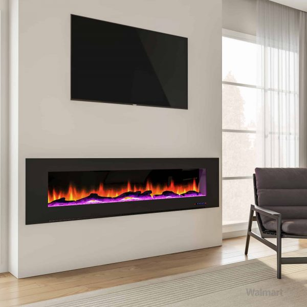 "Cambridge 78"" Wall-Mount Electric Fireplace Heater with Multi-Color LED Flames and Driftwood Log Display 9"