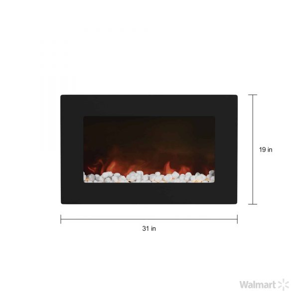 "Cambridge Callisto 30"" Wall-Mount Electronic Fireplace with Flat Panel and Crystal Rocks 4"