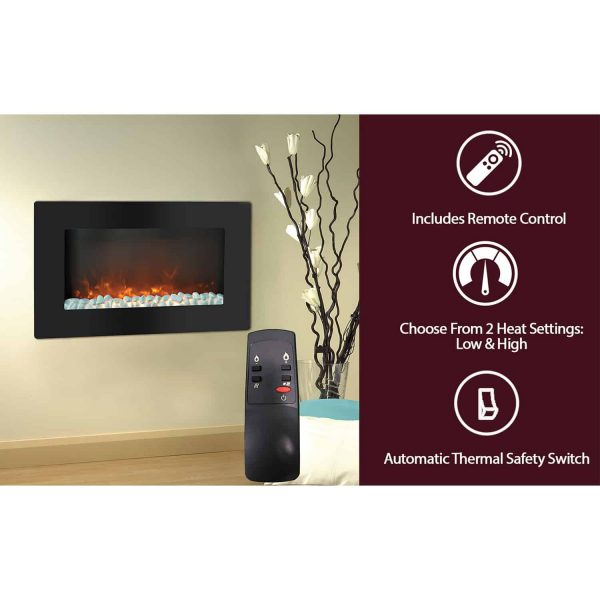 "Cambridge Callisto 30"" Wall-Mount Electronic Fireplace with Flat Panel and Crystal Rocks 6"